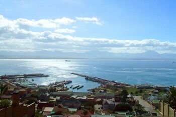 The Mossel Bay harbour, Outeniqua Ranges, Mossel Bay, Garden Route, Western Cape