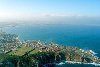 Mossel bay harbour and the Cape St Blaize Peninsula, Mossel Bay, Garden Route, Western Cape