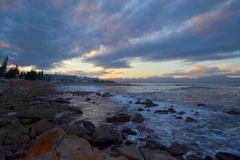 Last light at beach in Mossel Bay, Garden Route, Western Cape