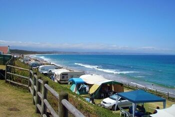 Camping at Hartenbos, a suburb to the north of Mossel Bay, Garden Route, Western Cape